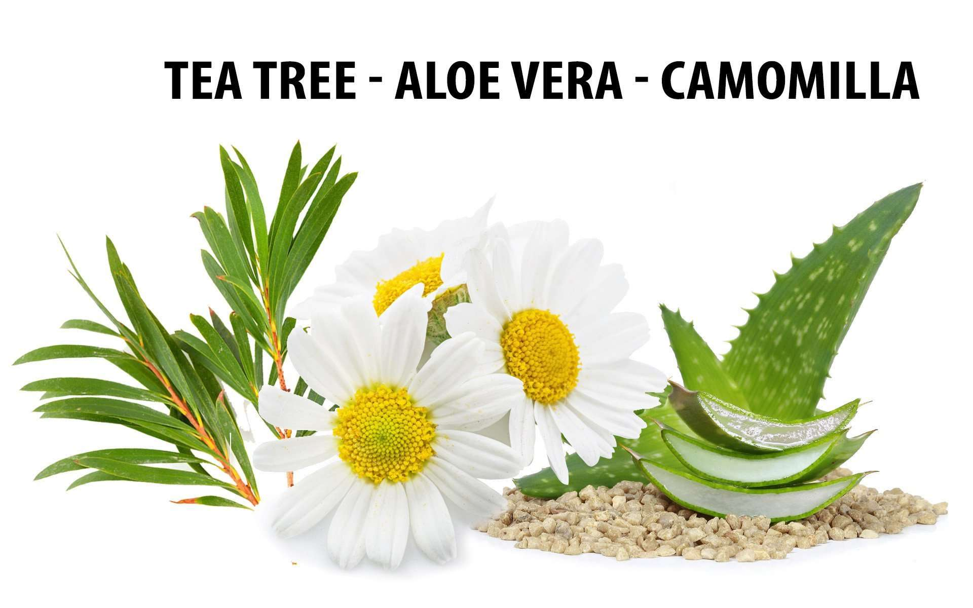 ingredienti antimicrobico (tea tree, aloe vera e camomilla)